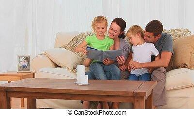 regarder, famille, joli, album