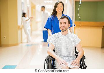 regarder, fauteuil roulant, bon, patient