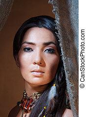 regarder, femme américaine, indien, tente