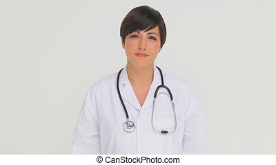 regarder, femme, appareil photo, docteur