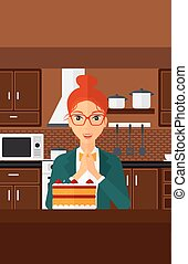 regarder, femme, cake.
