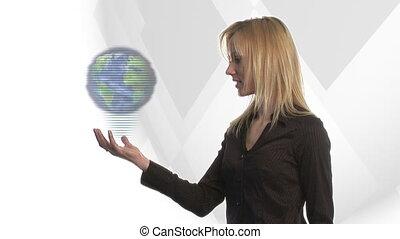 regarder, femme, globe