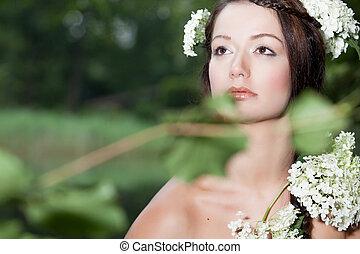 regarder, femme, haut, nature