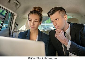 regarder, femme homme, associés, ordinateur portable, sérieux