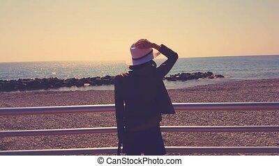 regarder, femme, mer