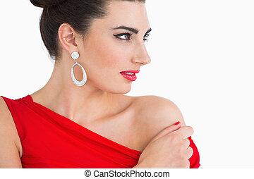 regarder, femme, robe, rouges, loin