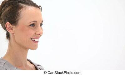 regarder, femme souriant, appareil photo