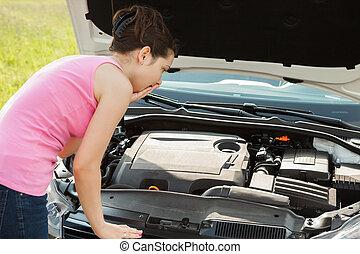 regarder, femme voiture, capuchon, sous