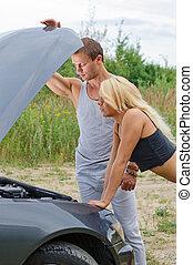 regarder, femme voiture, homme, engine.