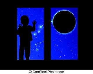 regarder, fenêtre, enfant, dehors, espace