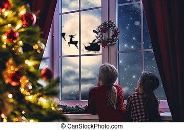 regarder, fenêtre, filles, santa, séance