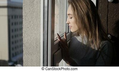 regarder, fenêtre, par, girl