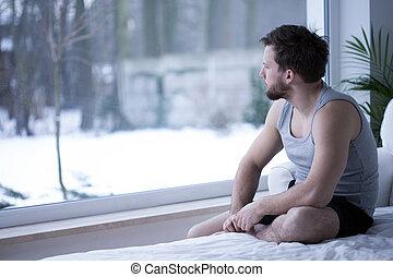 regarder, fenêtre, par, homme