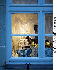 regarder, fenêtre, par