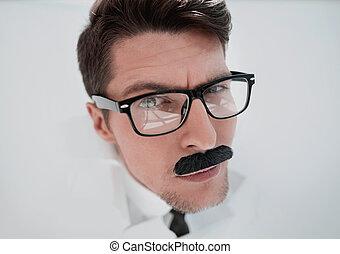 regarder, fin, vous, up.businessman, lunettes