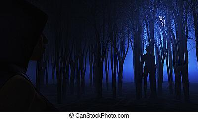 regarder, forêt, femme, brumeux, 3d, créature
