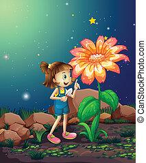 regarder, géant, pelle, plante, girl