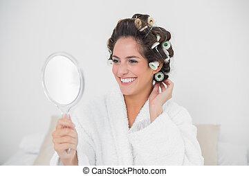 regarder, gai, brunette, naturel, miroir