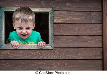 regarder, garçon, fenêtre, par, effronté