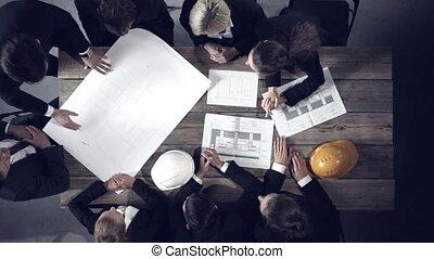 regarder, gens, bâtiment, business