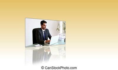 regarder, gens, vidéo, business