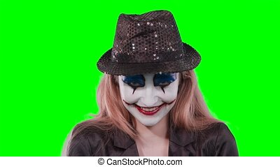 regarder, girl, appareil-photo., clown