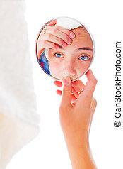 regarder, girl, boutons, elle, miroir