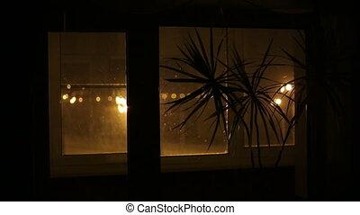 regarder, girl, fenêtre, dehors