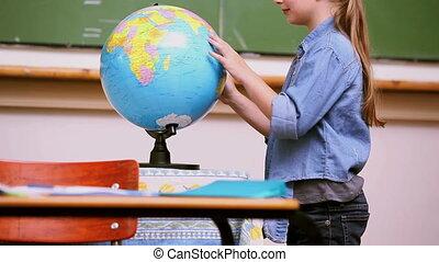 regarder, girl, globe