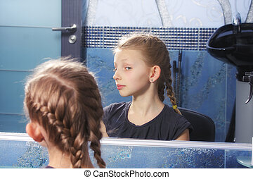 regarder, girl, propre, reflet