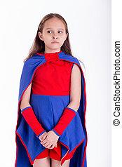 regarder, girl, superhero, déguisement, inquiété