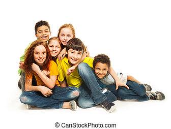 regarder, groupe, gosses, diversité