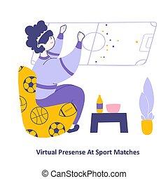 regarder, homme, 3d, séance, virtuel, émission, sports, ...