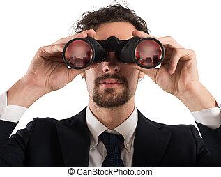 regarder, homme affaires, avenir