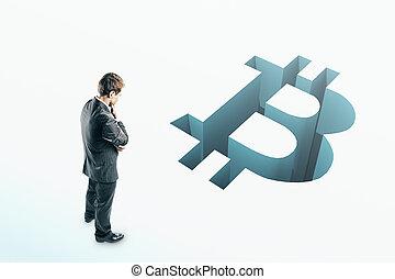 regarder, homme affaires, bitcoin, trouée