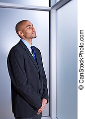 regarder, homme affaires, calme, paisible
