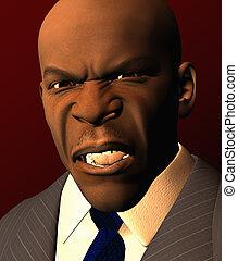 regarder, homme affaires, fâché, complet