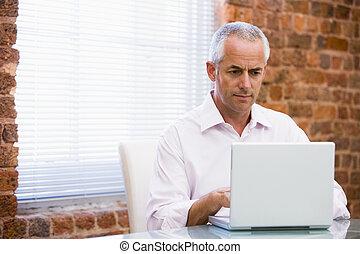 regarder, homme affaires, ordinateur portable, bureau