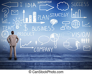 regarder, homme affaires, plan., innovation