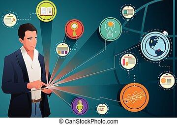 regarder, homme affaires, technologie, internet
