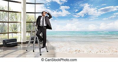 regarder, homme affaires, vacation.