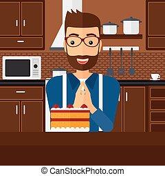 regarder, homme, cake.