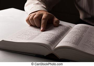 regarder, information, annuaire, homme