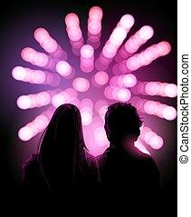 regarder, jeune couple, exposer, feux artifice