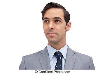 regarder, jeune, loin, homme affaires