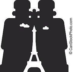 regarder, jumelles, par, paris