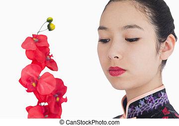 regarder, kimono, femme, orchidées