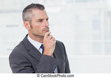 regarder loin, songeur, homme affaires