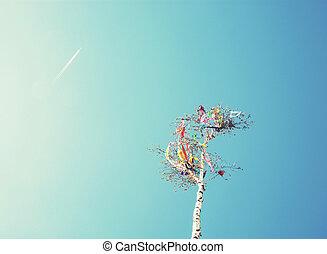regarder, mai, photo, avion, haut, filtre, poteau