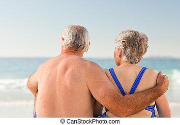 regarder, mer, couple